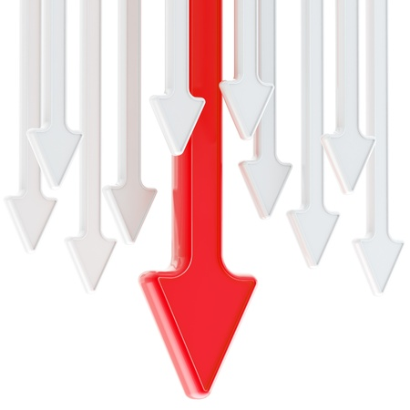 Abstract background of glossy arrows on white Stock Photo