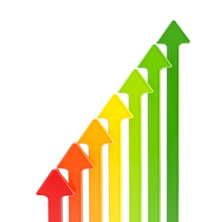 dynamic growth: Energy efficiency levels as growing arrows