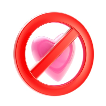 Forbidden not allowed love sign Stock Photo - 13362651
