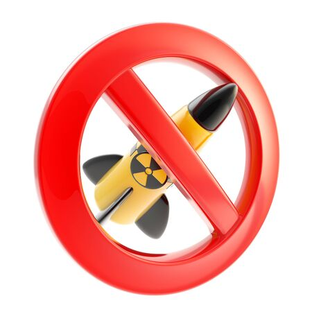 Nuclear war and radiation sign forbidden icon isolated on white photo
