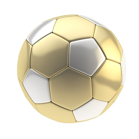 Gold and silver metallic football ball isolated on white photo