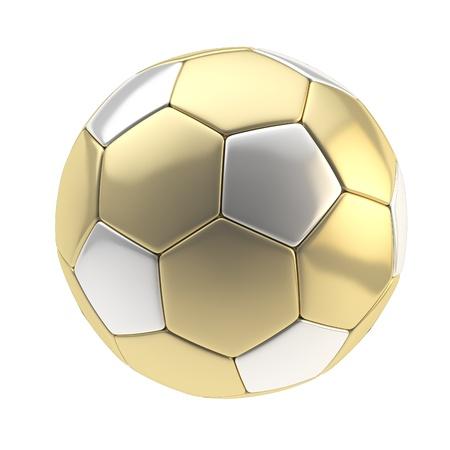 balonmano: Oro y plata bola met�lica de f�tbol aislado en blanco Foto de archivo