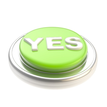 Green yes button glossy isolated Stock Photo - 13362648