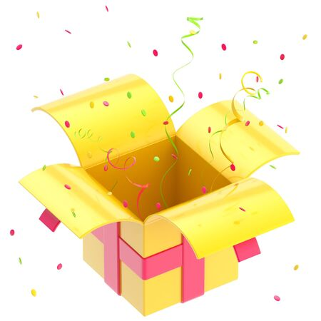 Gift box with ribbon, confetti isolated photo
