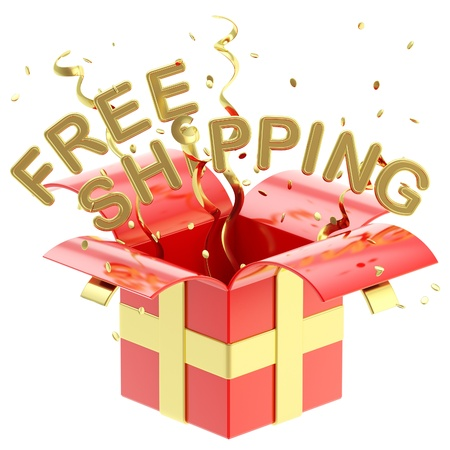 christmas bonus: Words  free shipping  inside a gift box with colorful ribbon, serpentine and confetti isolated on white Stock Photo