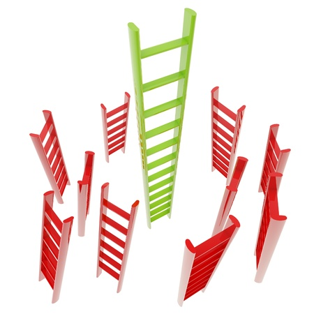 Red and green glossy ladder isolated photo