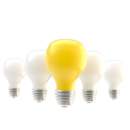 Leader and idea conception as a row of bulbs isolated photo