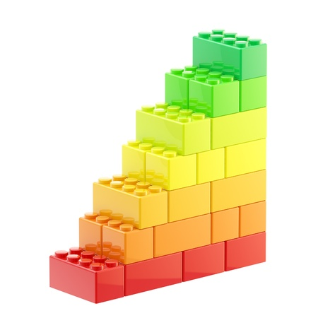 yellow lego block: Energy efficiency steps made of bricks Stock Photo