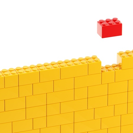 Background wall made of toy blocks