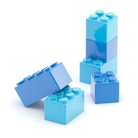 Toy construction brick blocks on white Imagens