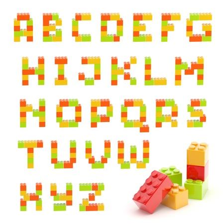 免震グッズ施工レンガ ブロックで作られた文字セットは、白で隔離