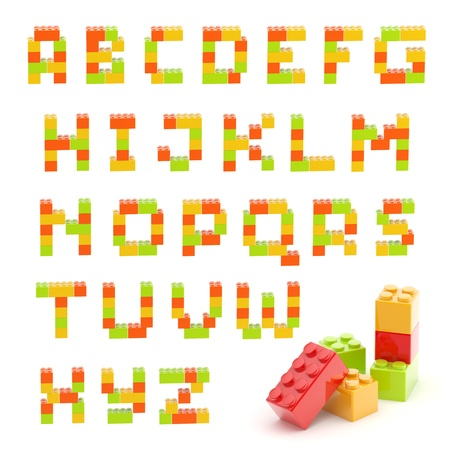 Alphabet set made of toy construction brick blocks isolated isolated on white photo