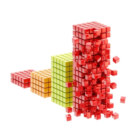 Collapse  ruined bar graph isolated photo