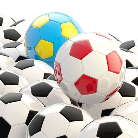 soccerball: Pile of football balls as a background Stock Photo
