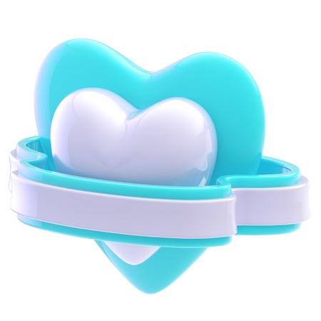 Shiny heart symbol with ribbon isolated photo