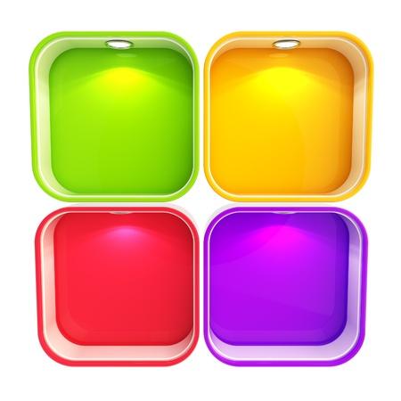 window case: Shop window copyspace showcase with backlight illumination, set of four isolated on white Stock Photo