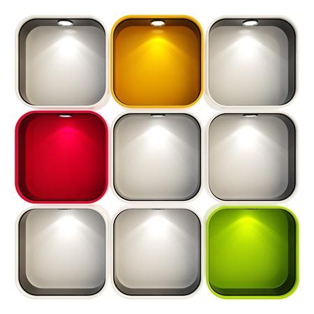 show window: Shop window copyspace showcase with backlight illumination, set of nine isolated on white Stock Photo