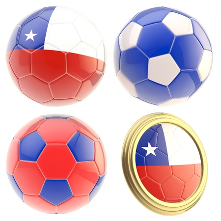 Chile football team set of four soccer ball attributes isolated on white photo