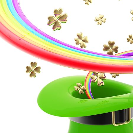 St  Patrick hat with rainbow inside Stock Photo - 13485348