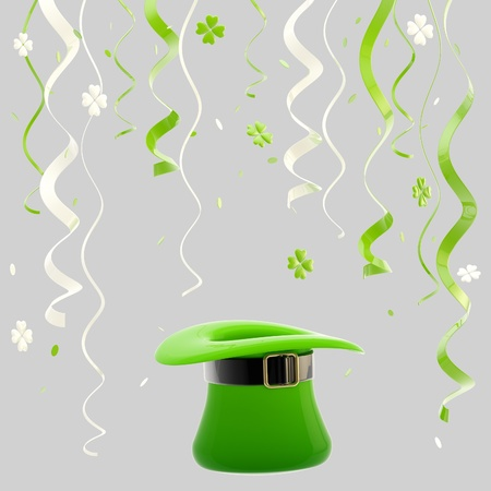St  Patrick day colorful background made of hat, ribbons and confetti isolated on grey photo