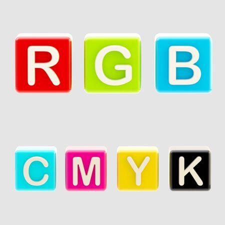 RGB and CMYK symbols made of blocks photo