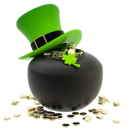 St  Patrick  pot of coins and hat Stock Photo - 13485230