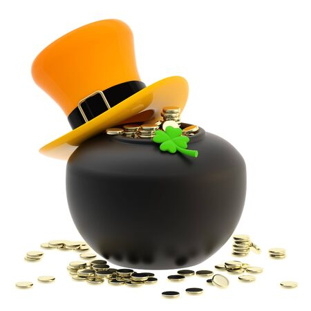 St  Patrick  pot of coins and hat photo