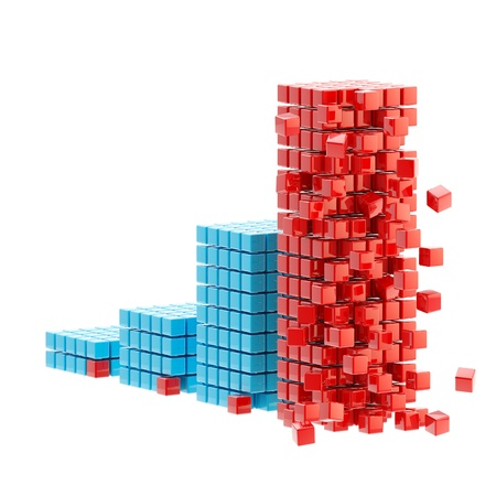 collapse: Collapse  ruined bar graph isolated