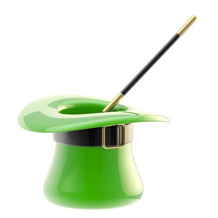 St  Patrick hat with magic wand inside Stock Photo - 13484984
