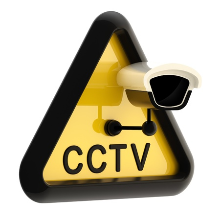 cctv security: Closed circuit television CCTV alert sign Stock Photo