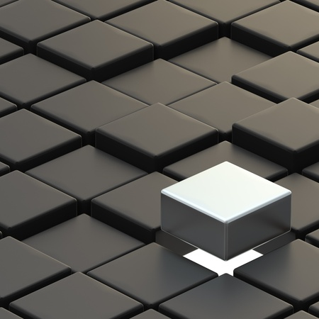outstanding: Abstract background made of back cubes and outstanding silver one