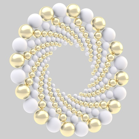 Round ornament circular frame made of white and golden spheres isolated on grey photo