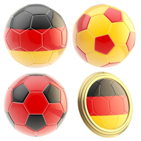 Germany football team set of four soccer ball attributes isolated on white Stock Photo - 13485304