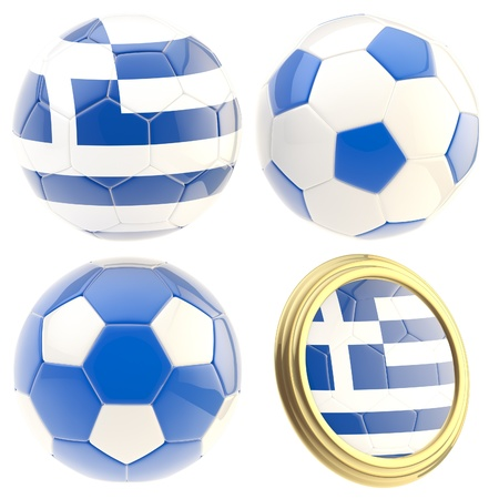 attributes: Greece football team set of four soccer ball attributes isolated on white