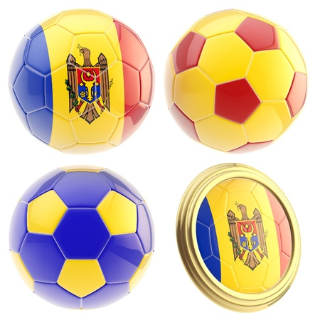 the attributes: Moldova football team set of four soccer ball attributes isolated on white