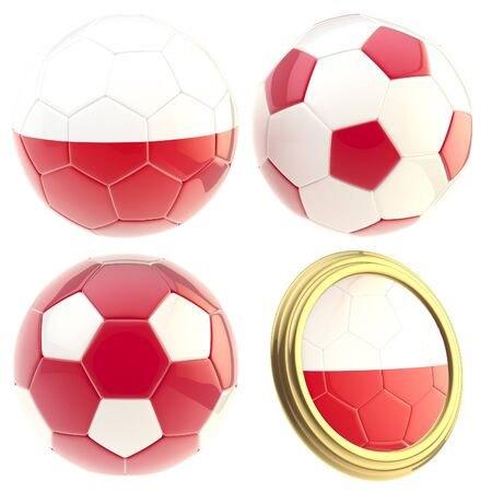 attributes: Poland football team set of four soccer ball attributes isolated on white