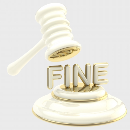 fine: Penalty  gavel breaking word  fine  Stock Photo