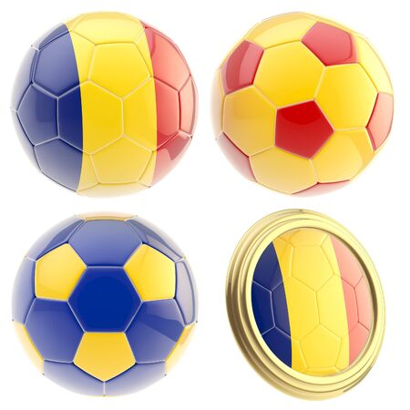 Romania football team set of four soccer ball attributes isolated on white Stock Photo - 13485311