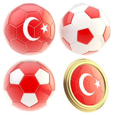Turkey football team set of four soccer ball attributes isolated on white photo