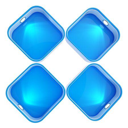 backlight: Shop window copyspace showcase with backlight illumination, set of four isolated on white Stock Photo