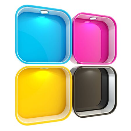 Shop window copyspace showcase with backlight illumination, set of four isolated on white photo