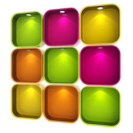 window case: Shop window copyspace showcase with backlight illumination, set of nine isolated on white Stock Photo