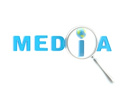 Word  media  under the magnifier Stock Photo - 13485441