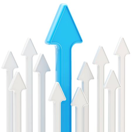 Competition and economical growth as abstract background of glossy arrows on white Stock Photo - 13485500
