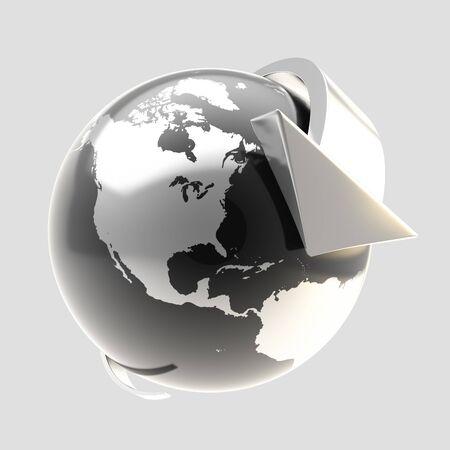 Earth globe symbol with arrow orbit Stock Photo - 13485494