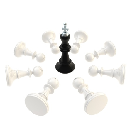 overthrow: Black king surrounded with pawns isolated