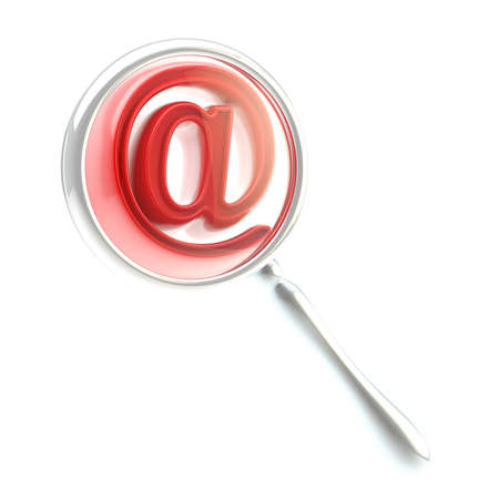 Mail  at    symbol under the magnifier Stock Photo - 14089385