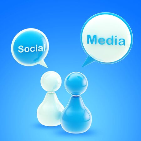 Social media blue glossy emblem made of text bubbles and symbolic human figures photo