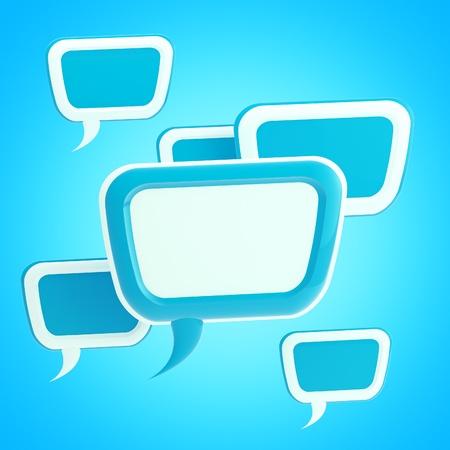 Blue text bubbles background photo