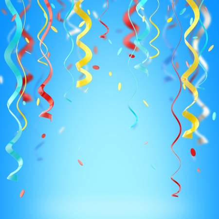 Ribbons and confetti colorful background Standard-Bild